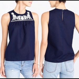 J. Crew Embroidered Cotton Linen Shell Navy NWT 8